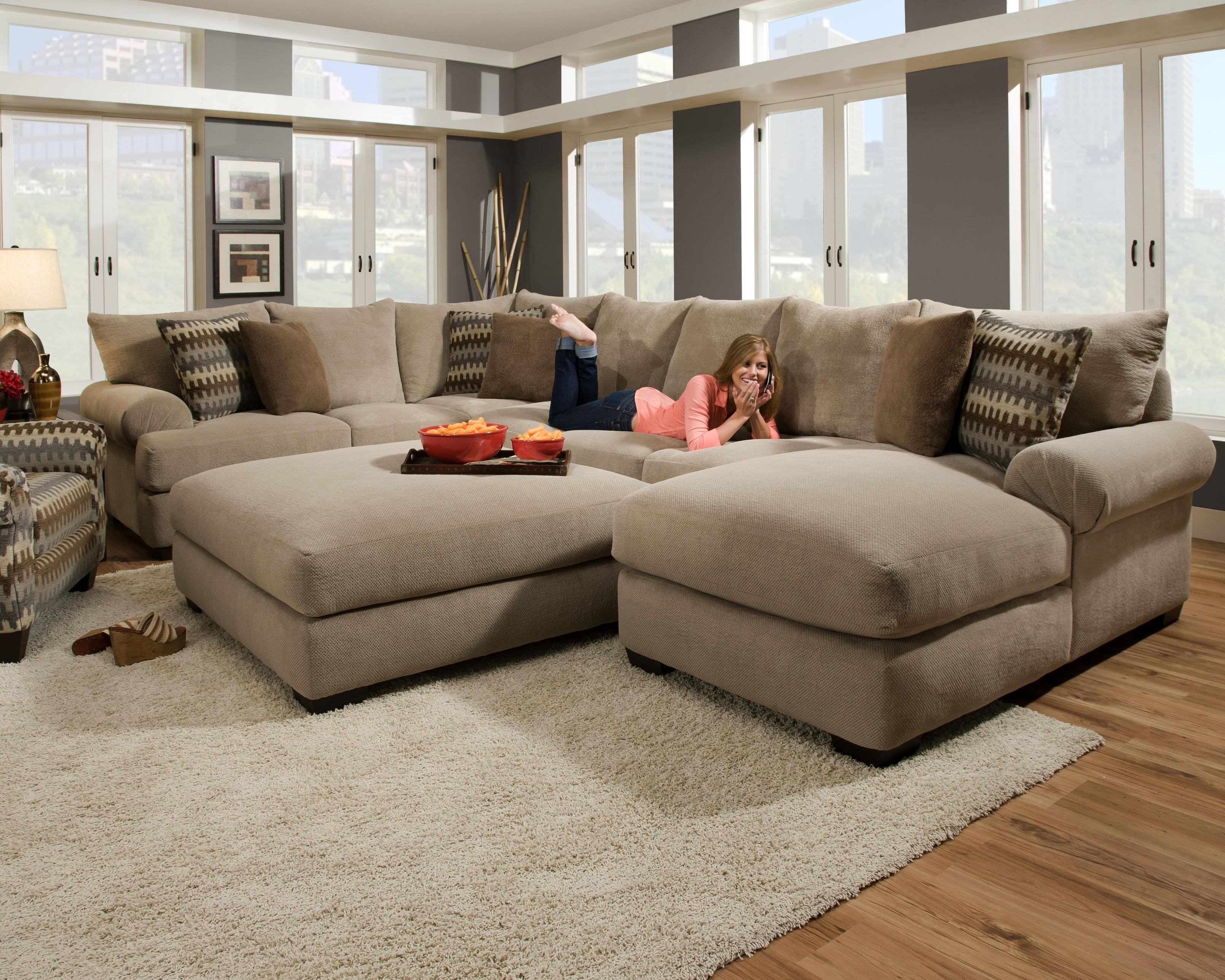 Furniture: Interesting Living Room Interior Using Large Sectional Pertaining To Microfiber Sectional Sofas (Image 10 of 20)