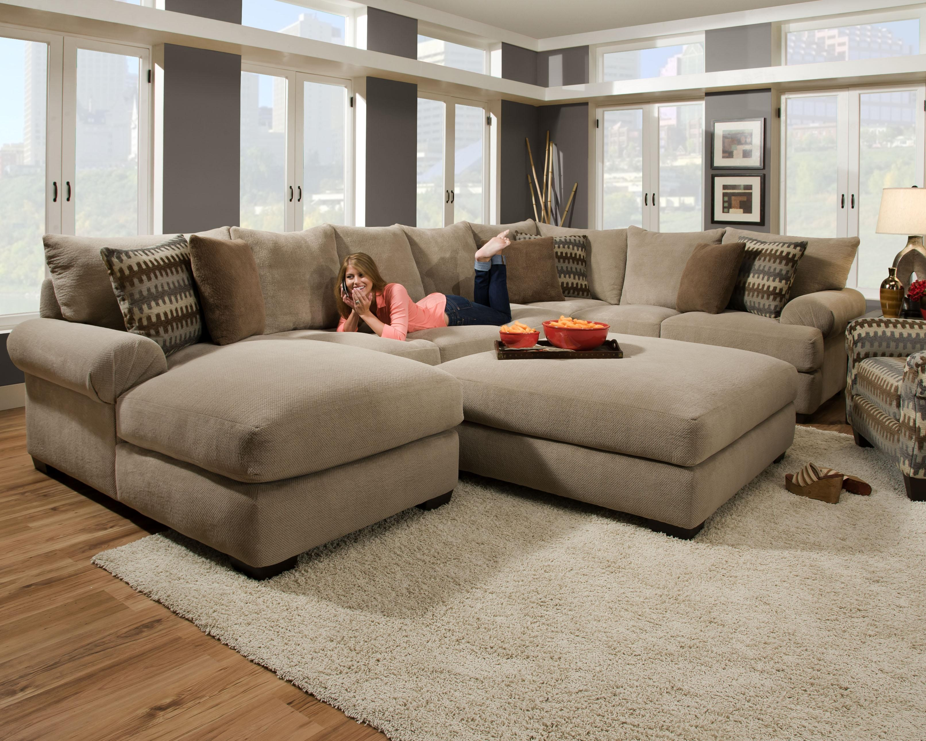 Furniture: Interesting Living Room Interior Using Large Sectional Pertaining To Oversized Sectional Sofa (Image 6 of 20)