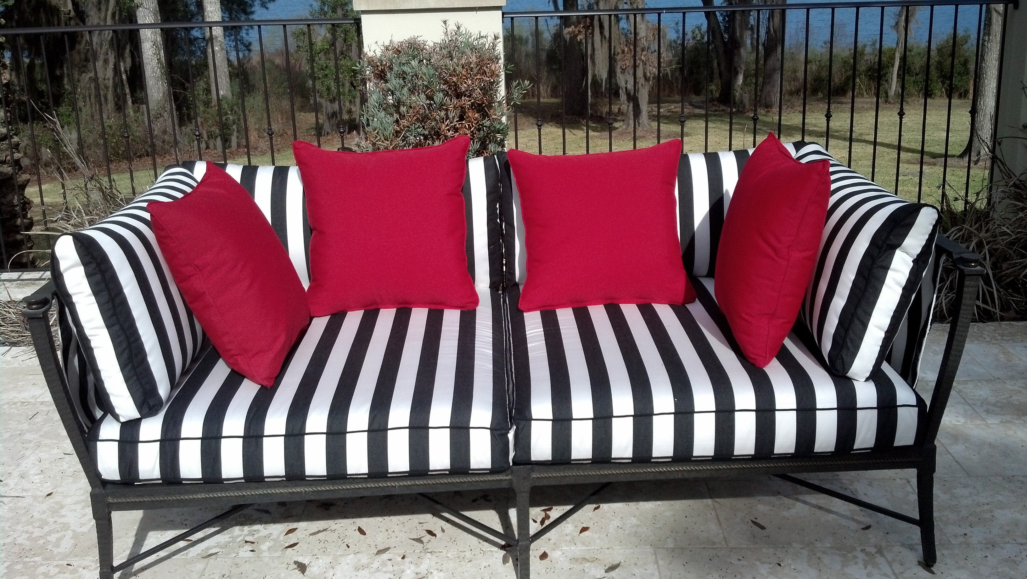 Furniture: Interesting Sunbrella Outdoor Furniture For Patio For Striped Sofas And Chairs (View 16 of 20)
