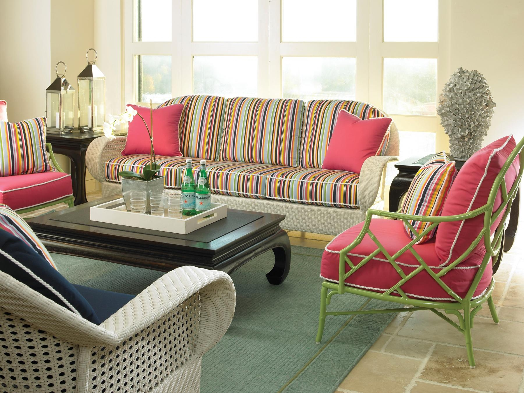 Furniture: Interesting Sunbrella Outdoor Furniture For Patio With Regard To Striped Sofas And Chairs (View 8 of 20)