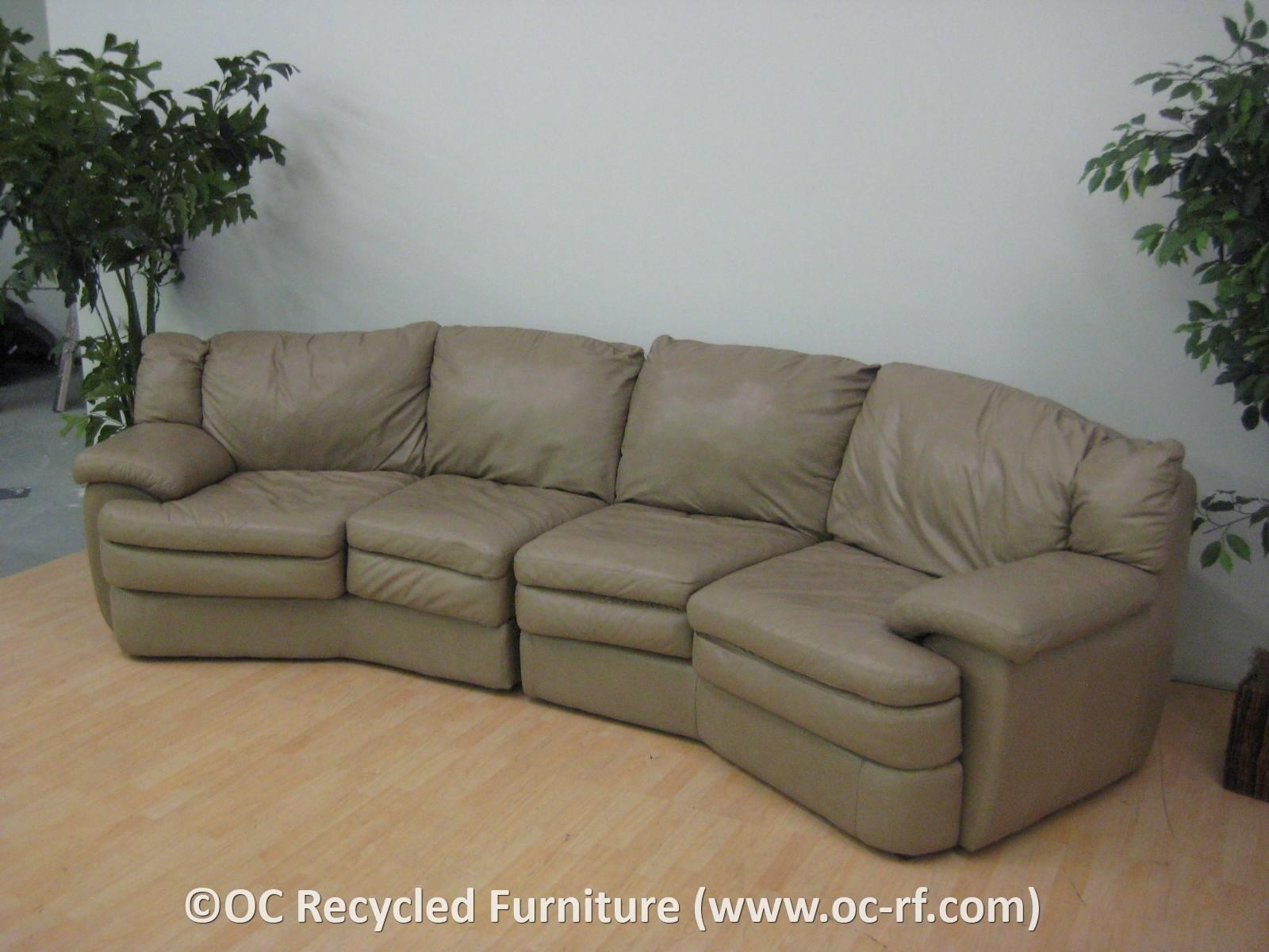 Furniture: Leather Curved Sectional Sofa With Wood Legs For Living In Leather Curved Sectional (Image 9 of 20)