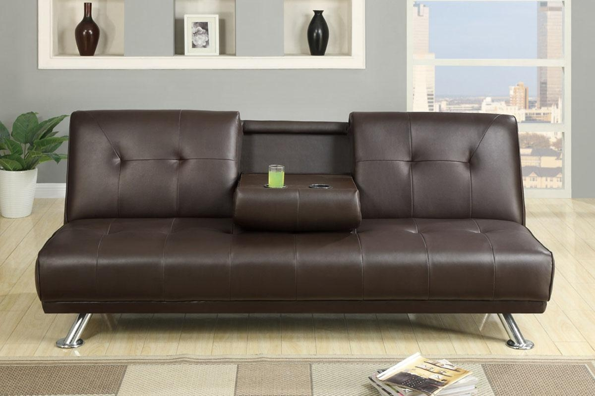 Furniture: Leather Futon Walmart With Modern Look And Stylish With Regard To Leather Fouton Sofas (Image 9 of 20)