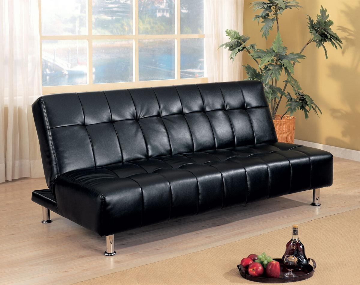 Furniture: Leather Futon Walmart With Modern Look And Stylish With Small Black Futon Sofa Beds (Image 5 of 20)