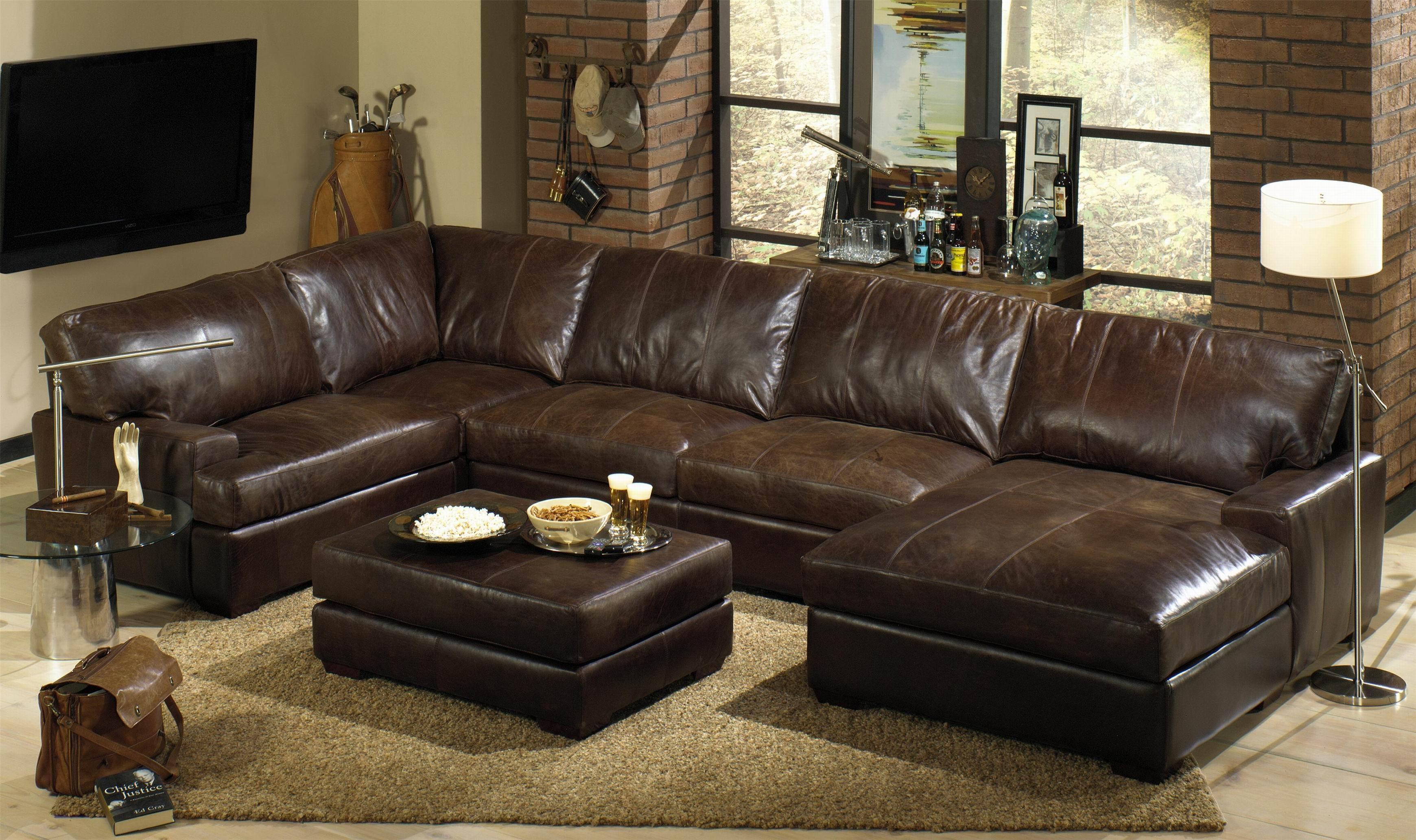 Furniture: Leather U Shaped Sofa | Distressed Leather Sectional Regarding U Shaped Leather Sectional Sofa (Image 6 of 20)