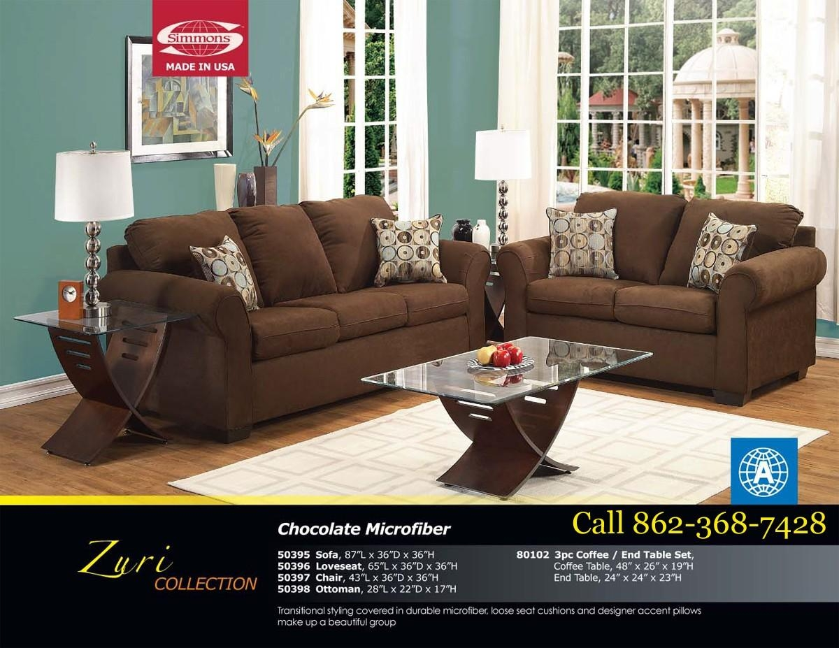 Furniture: Lovely Brown Microfiber Couch With Superb Color Intended For Simmons Microfiber Sofas (Image 2 of 20)
