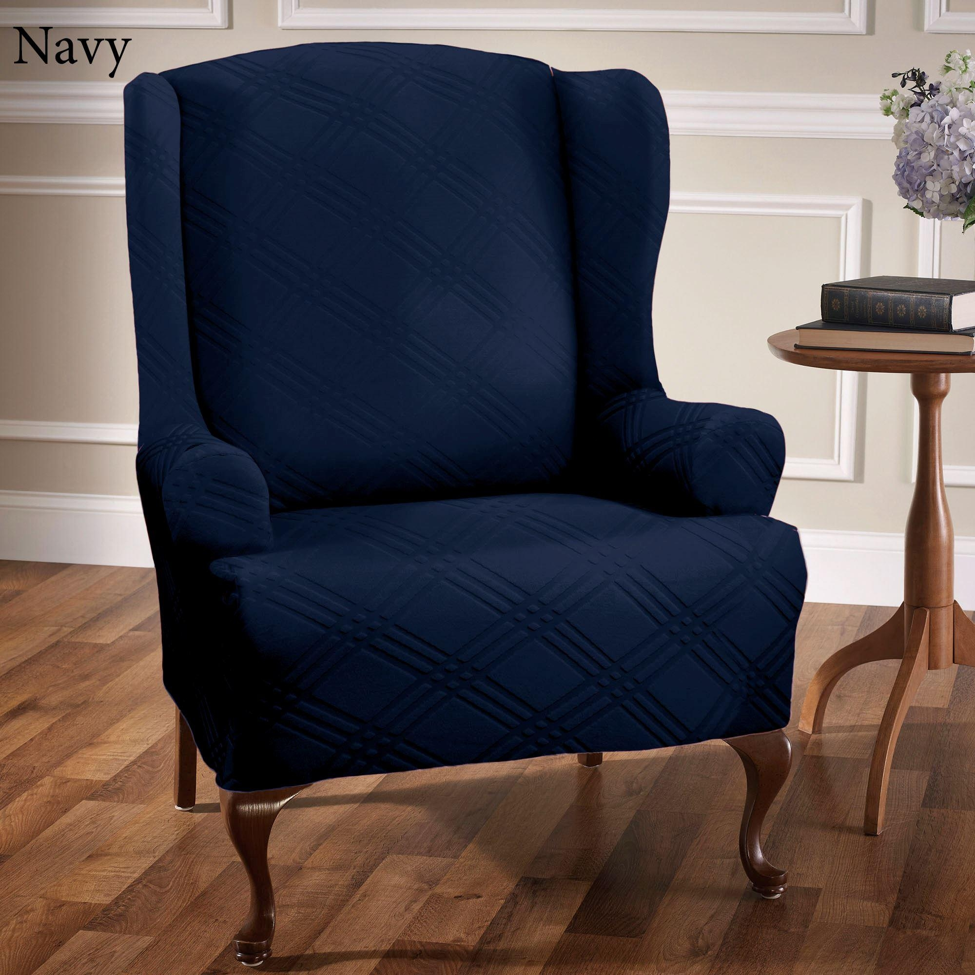 Furniture: Magnificent Top Class Wingback Chair Slipcovers Pertaining To Blue Slipcovers (Image 8 of 20)
