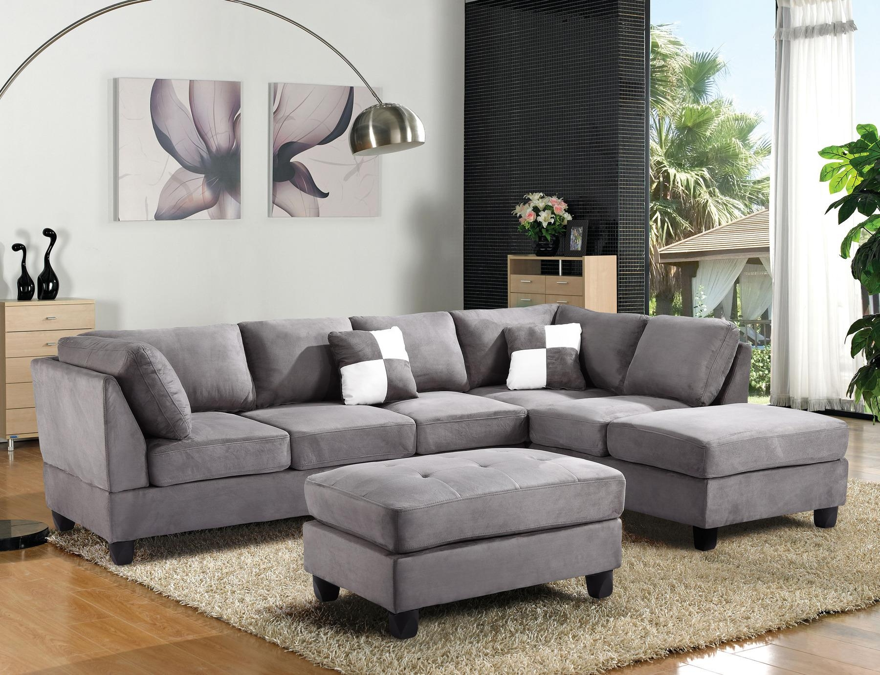 Furniture: Microfiber Sectional | Leather And Suede Sectional Inside Leather And Suede Sectional Sofa (Image 6 of 20)
