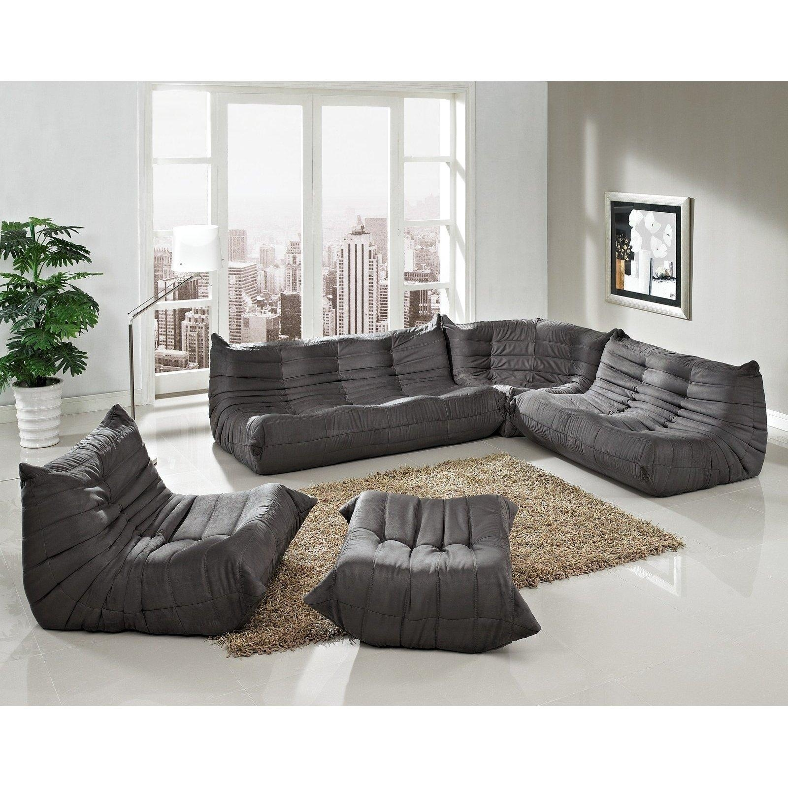 Furniture: Microfiber Sofas | Grey Sectional Sleeper Sofa | Gray Pertaining To Microsuede Sleeper Sofas (Image 8 of 20)