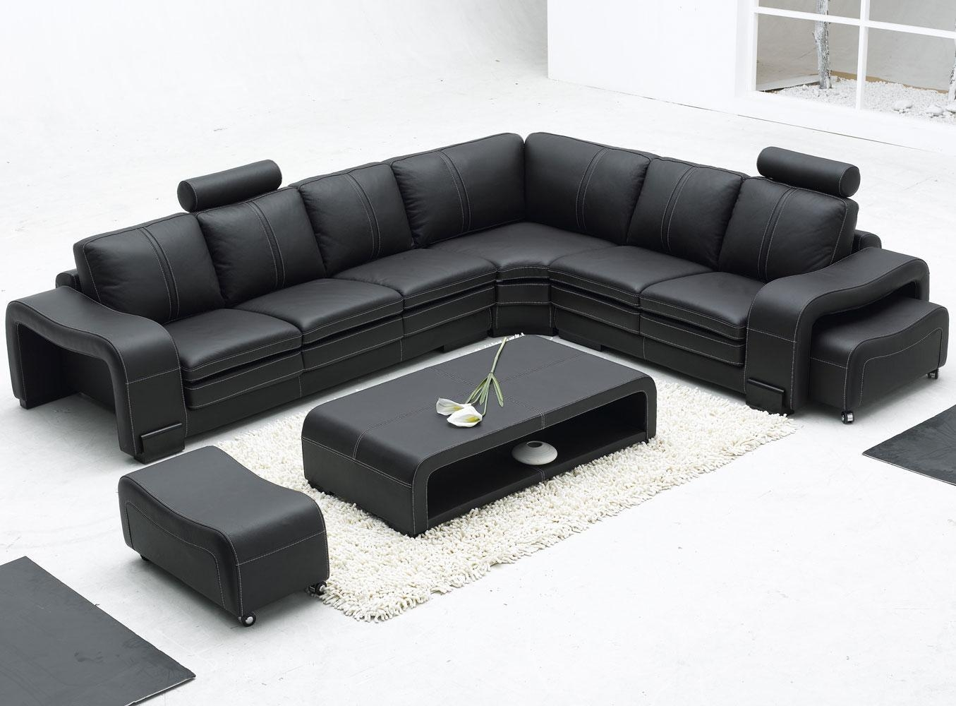 Furniture: Modern Bonded Leather Sectional Sofa In Black And Inside Black Modern Sectional Sofas (Image 10 of 20)
