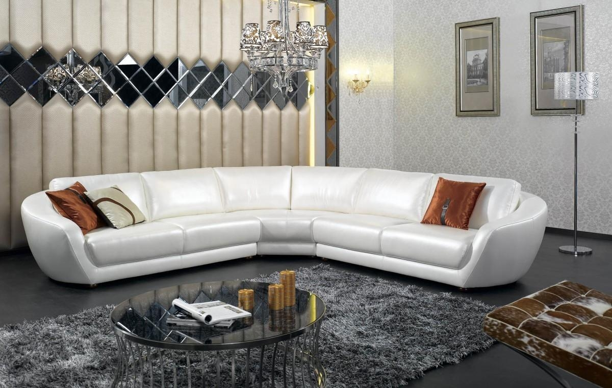 Furniture: Modern Italian White Pearl Leather Sectional Sofa And In Italian Leather Sectionals Contemporary (View 6 of 20)