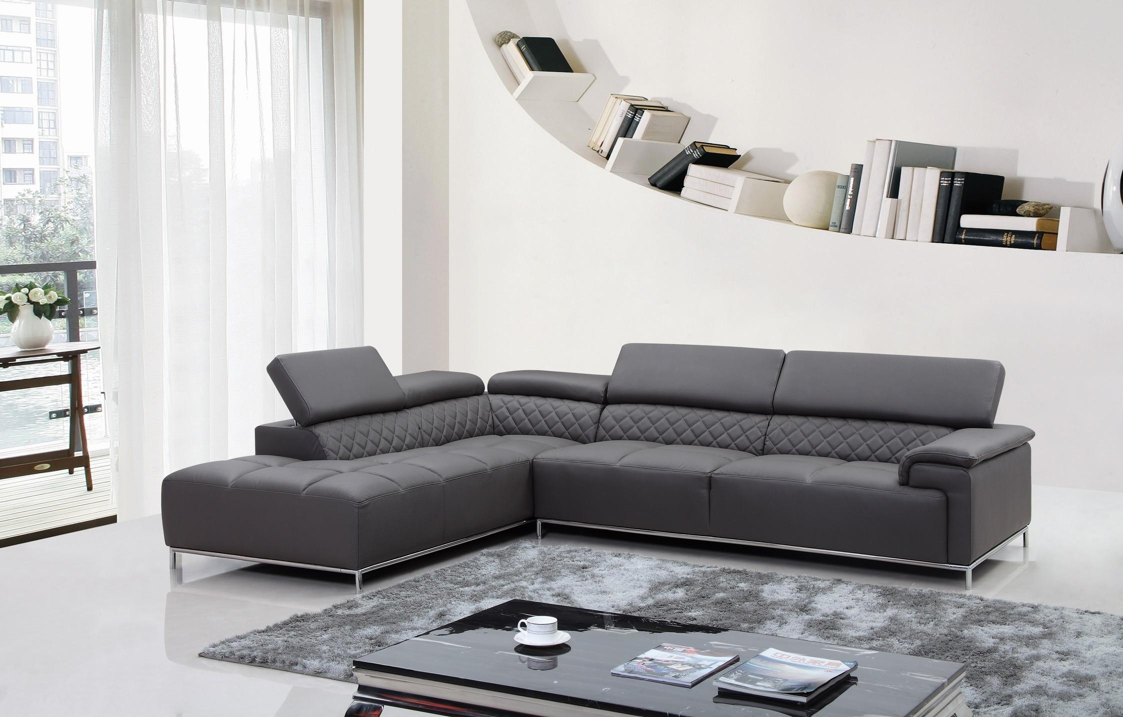 Furniture: Modern Leather Sectional Sofa And Black Leather Modern With Black Modern Sectional Sofas (Image 11 of 20)