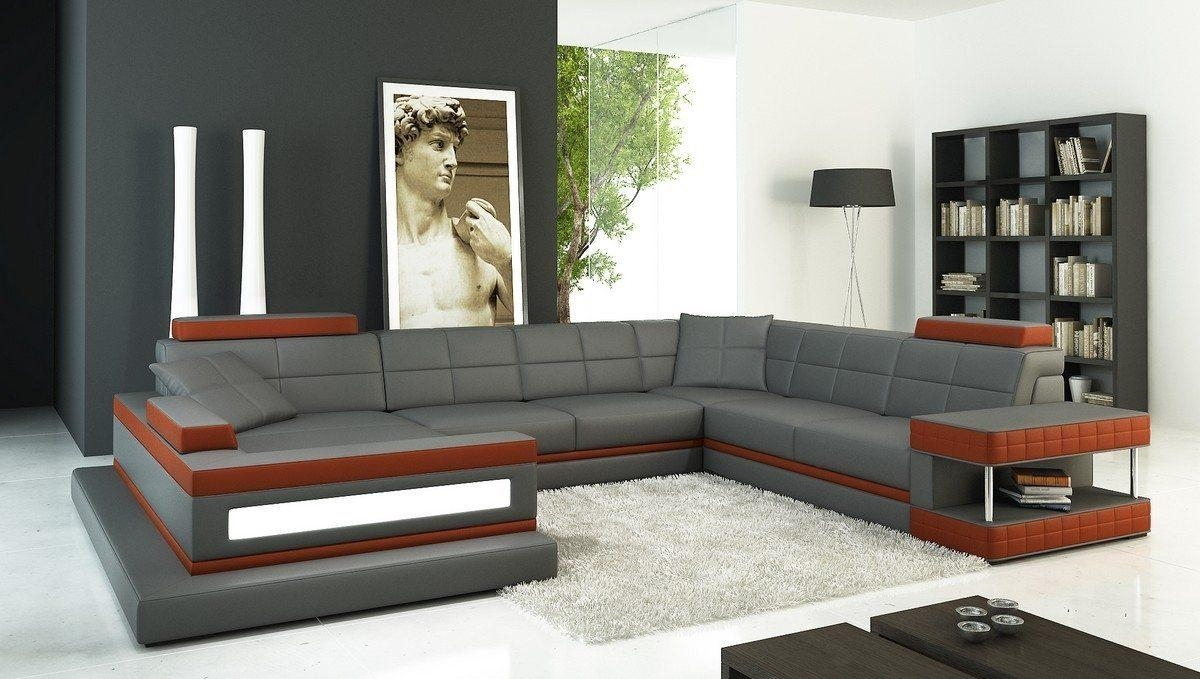 Furniture: Nostalgic Fancy Gray Leather Sectional For Living Room Within Long Sectional Sofa With Chaise (Image 6 of 20)