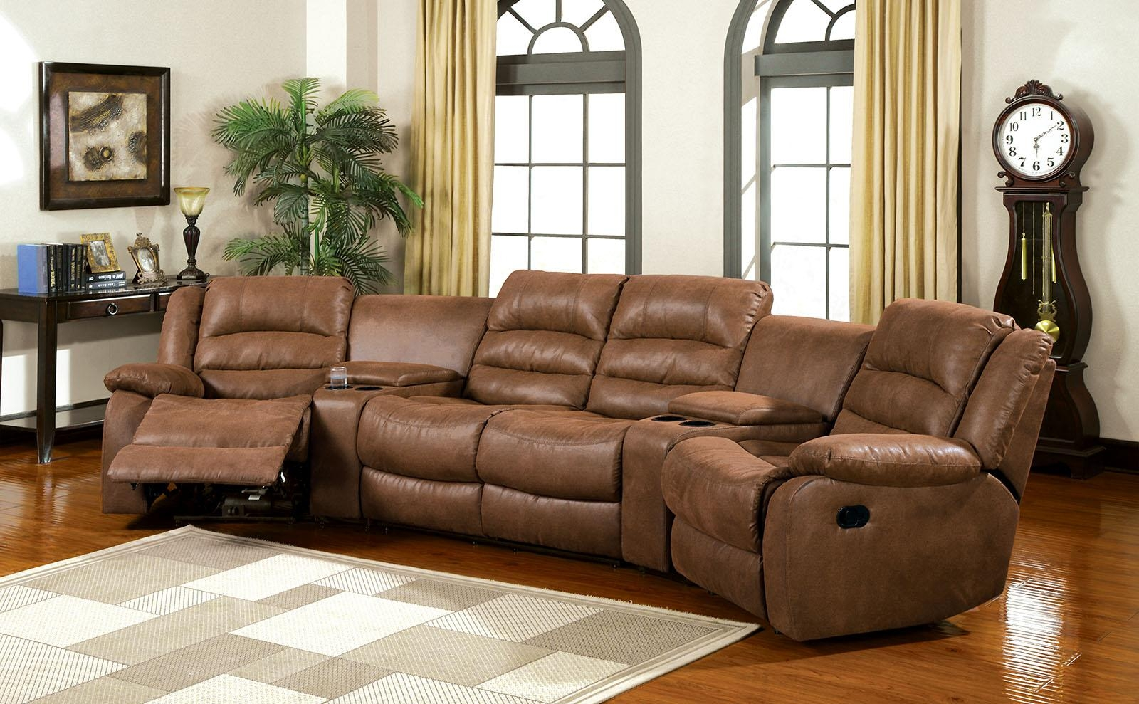 Furniture Of America Cm6123 Manchester Brown Leather Like Fabric 2 Inside Theatre Sectional Sofas (Image 4 of 20)