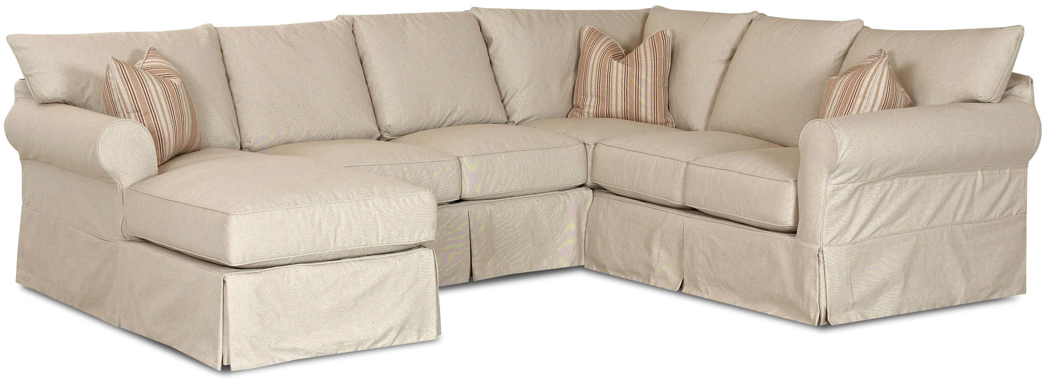 Furniture: Pretty Slipcovered Sectional Sofa For Comfy Your Living Regarding 3 Piece Sofa Slipcovers (Image 5 of 20)