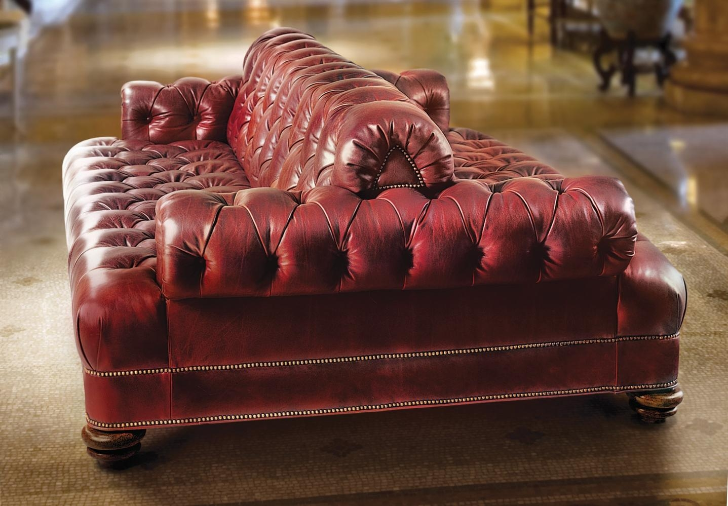 Furniture: Red Leather Tufted Double Sided Back To Back Vintage With Regard To Classic Sofas For Sale (Image 9 of 20)