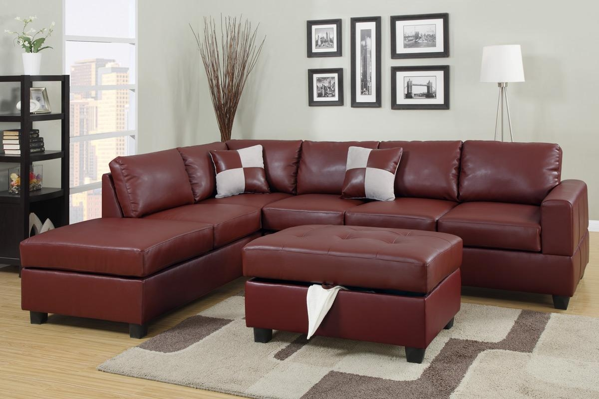 Furniture: Red Sectional Sofas | Burgundy Sofa | Burgundy Leather Inside Burgundy Sectional Sofas (View 2 of 20)