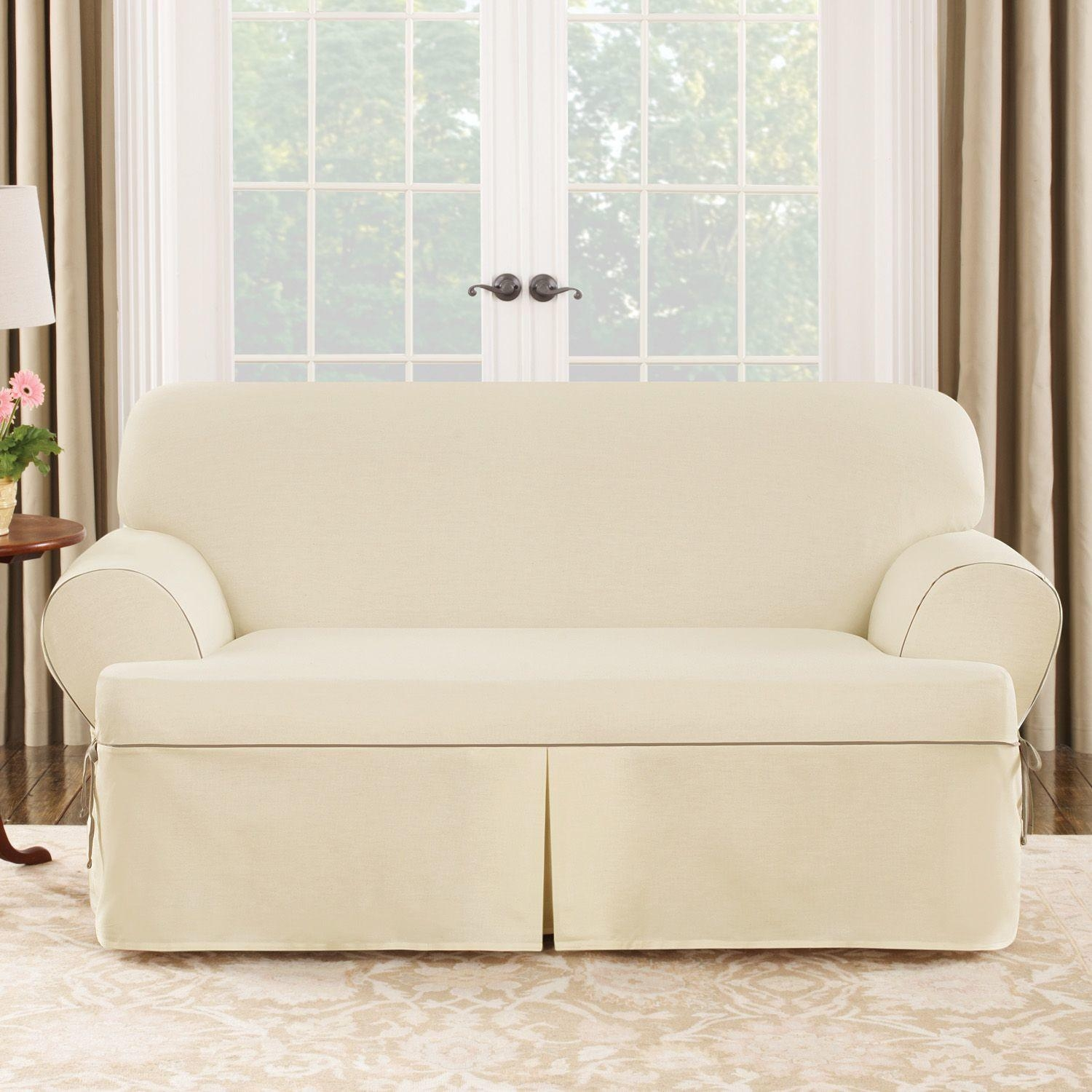 Furniture & Sofa: Stunning Sure Fit Sofa Covers Design For With Regard To Loveseat Slipcovers T Cushion (View 15 of 20)