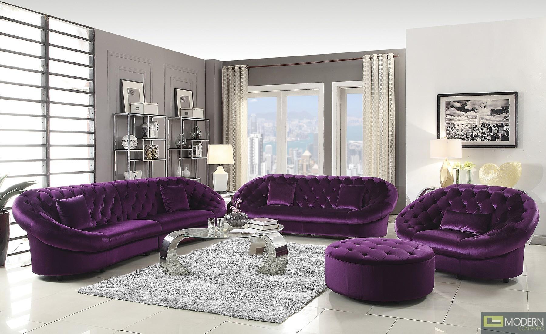 Furniture: Sofas Velvet Velvet Tufted Sofa Regarding Velvet Purple Sofas (Image 8 of 20)