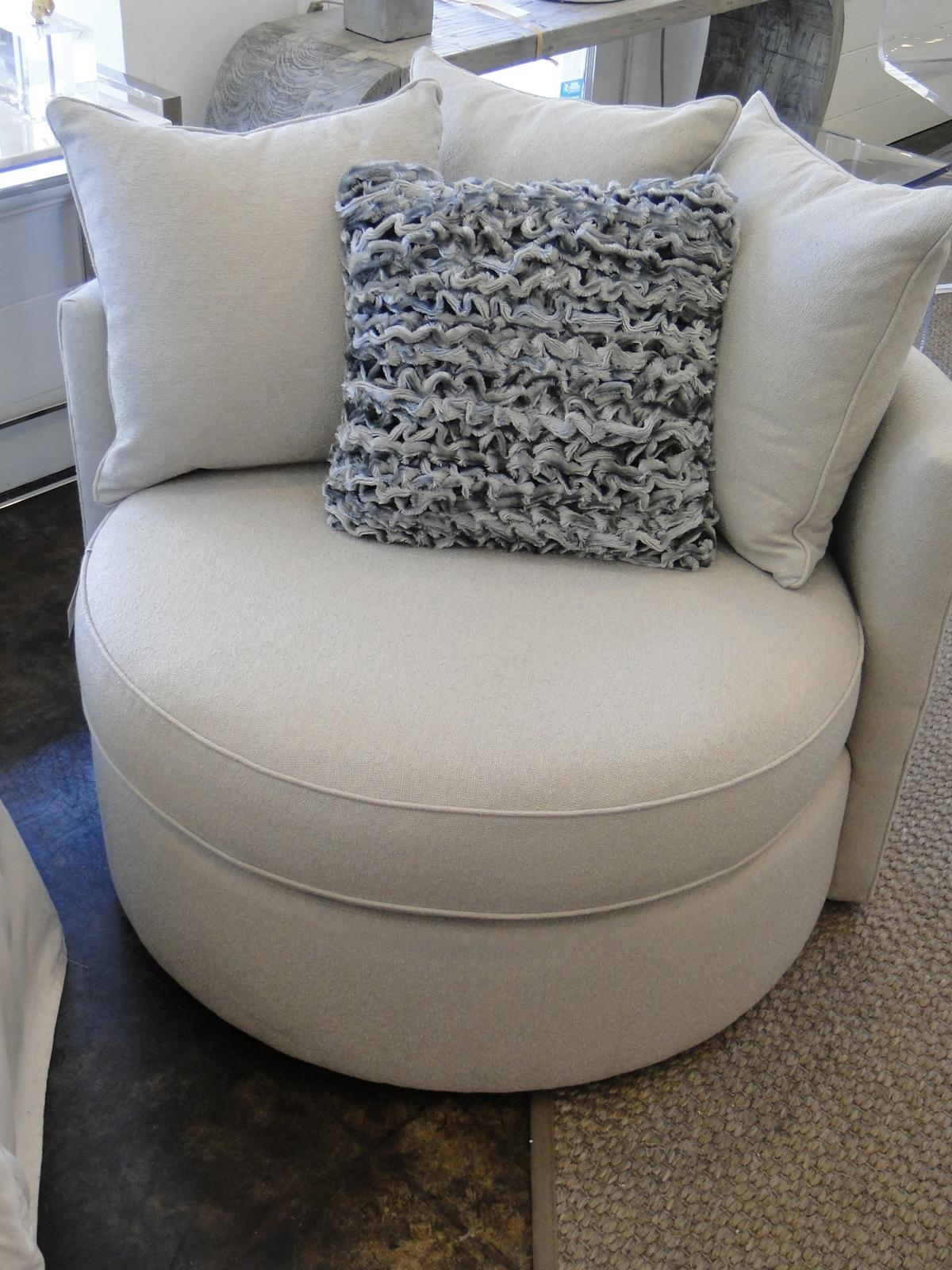 Furniture: Sophisticated Oversized Round Swivel Chair With With Round Swivel Sofa Chairs (Image 4 of 20)