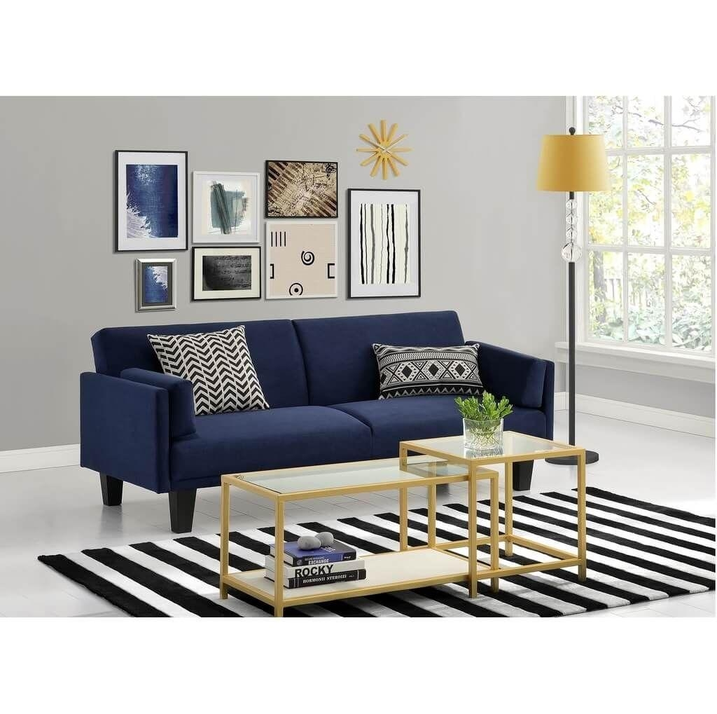 Furniture: Tips Finding Navy Blue Sofa For Your Living Room – Navy Intended For Blue And White Sofas (Image 14 of 20)