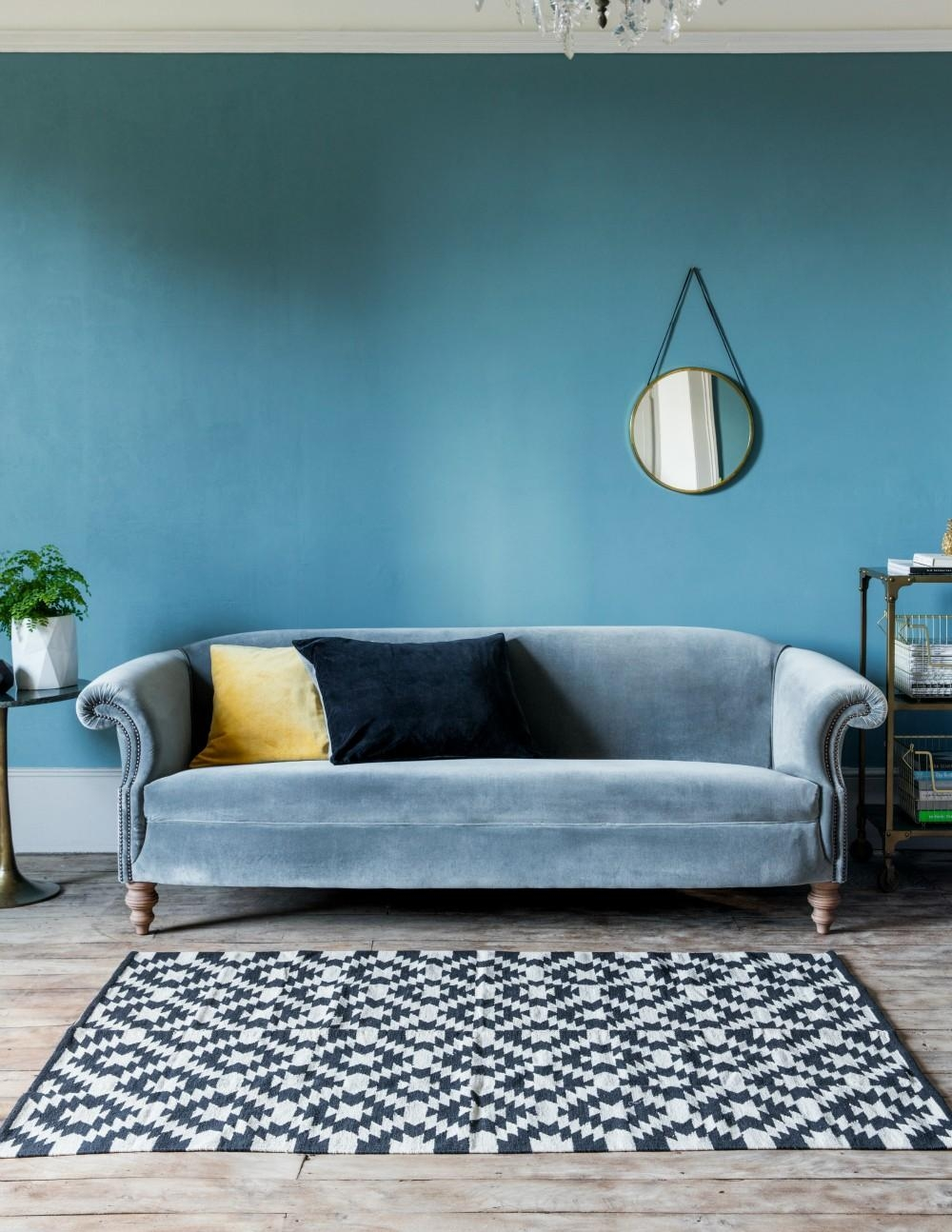 Furniture: Trendy Blue Velvet Couch Design To Inspired Your For Blue Gray Sofas (Image 8 of 20)
