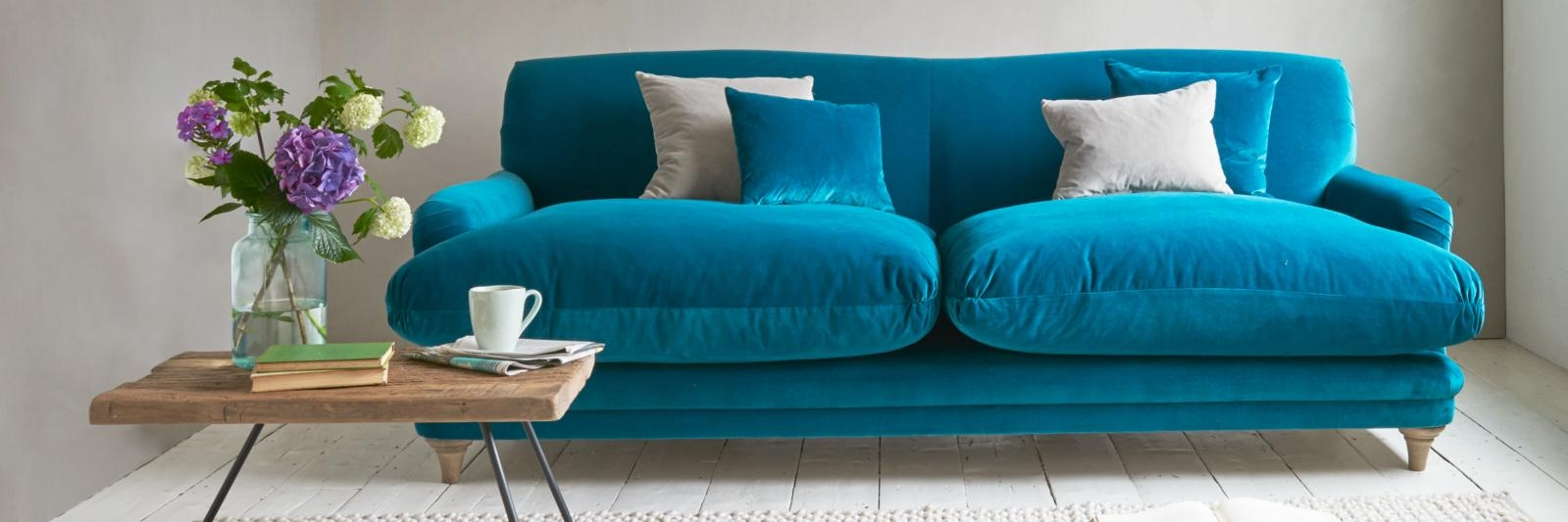 Furniture: Trendy Blue Velvet Couch Design To Inspired Your Regarding Sky Blue Sofas (Image 8 of 20)