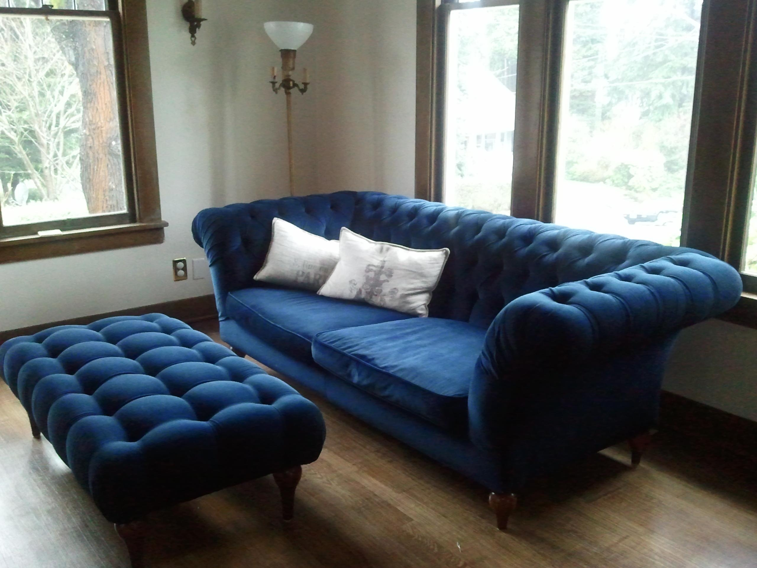 Furniture: Tufted Couch | Velvet Sectional Sofa | Blue Velvet In Blue Velvet Tufted Sofas (Image 13 of 20)
