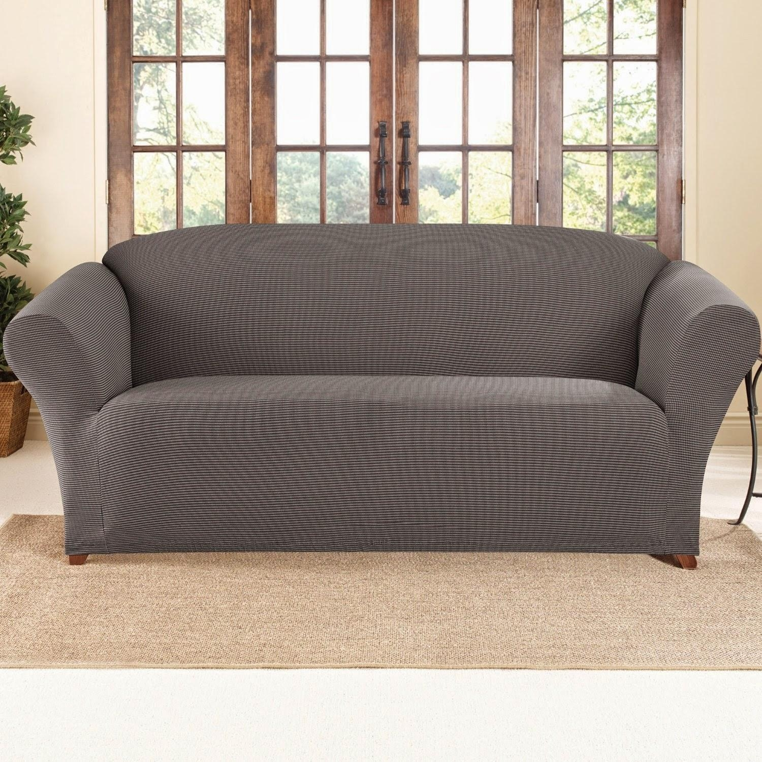 Furniture: Wonderful Walmart Couch Covers Design For Alluring Regarding Suede Slipcovers For Sofas (Image 5 of 20)