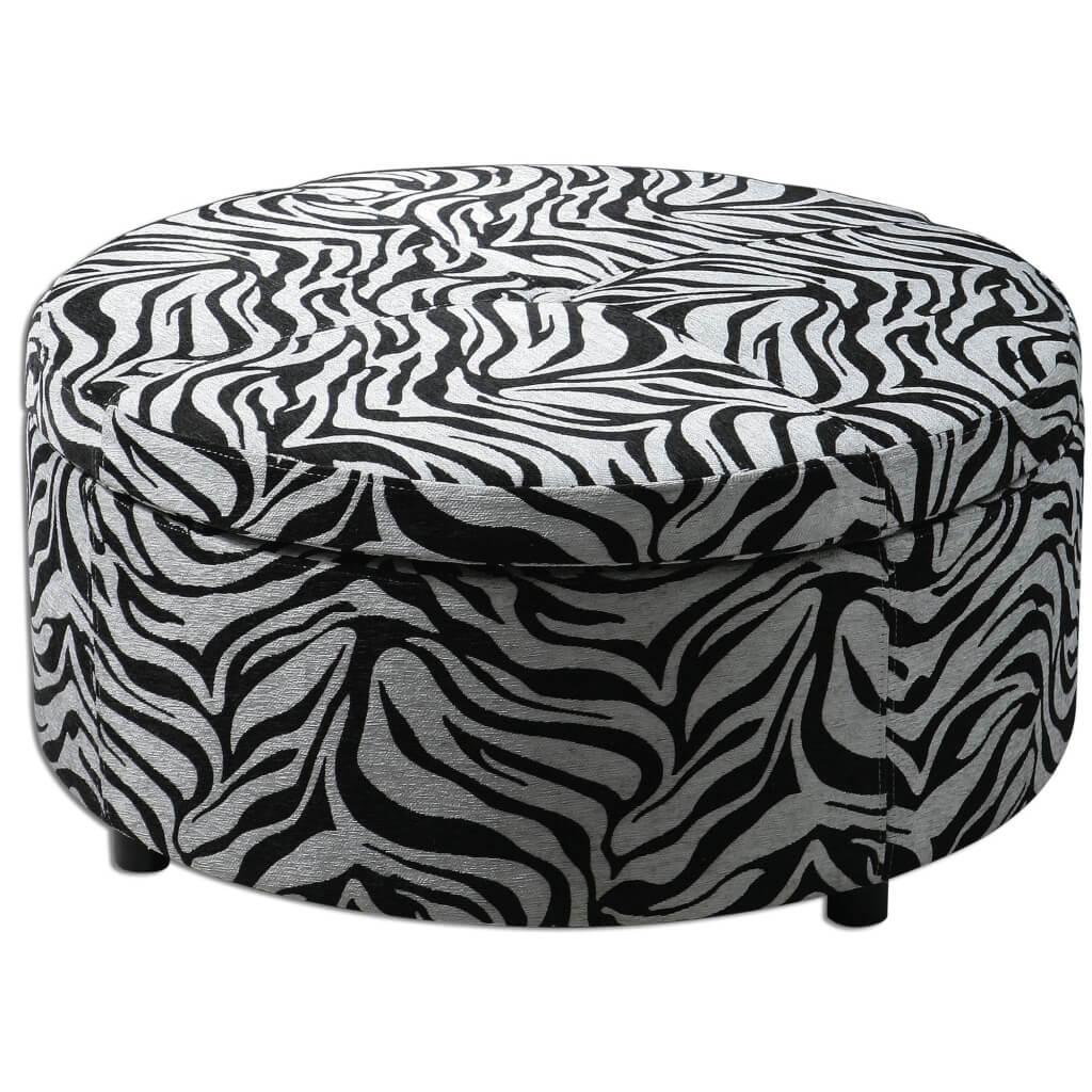 Furniture: Zebra Print Round Coffee Table And Round Zebra Ottoman Inside Kids Sofa Chair And Ottoman Set Zebra (View 9 of 20)