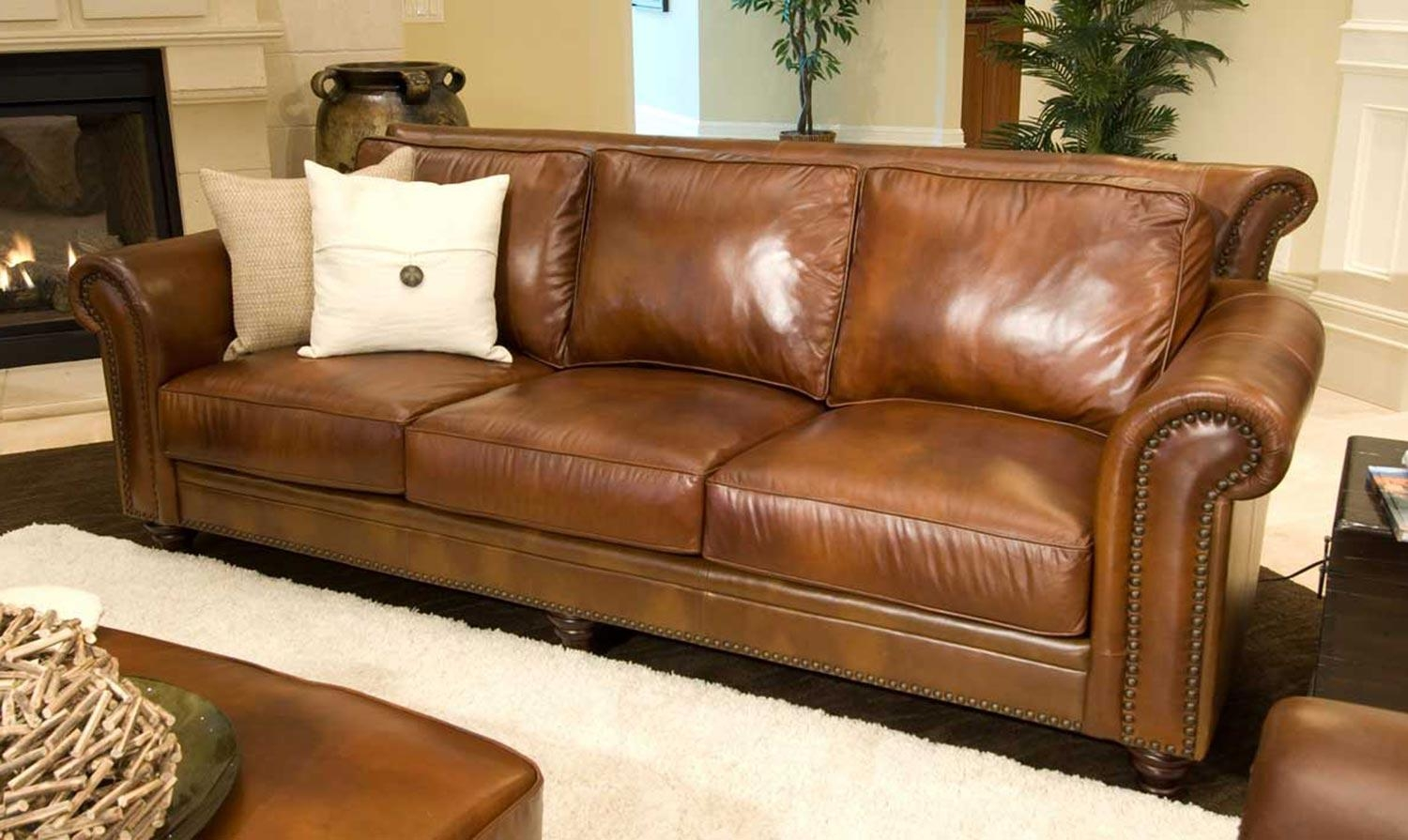 Furnitures: Aniline Leather | Full Grain Leather Sofa | Brown With Regard To Full Grain Leather Sofas (View 13 of 20)