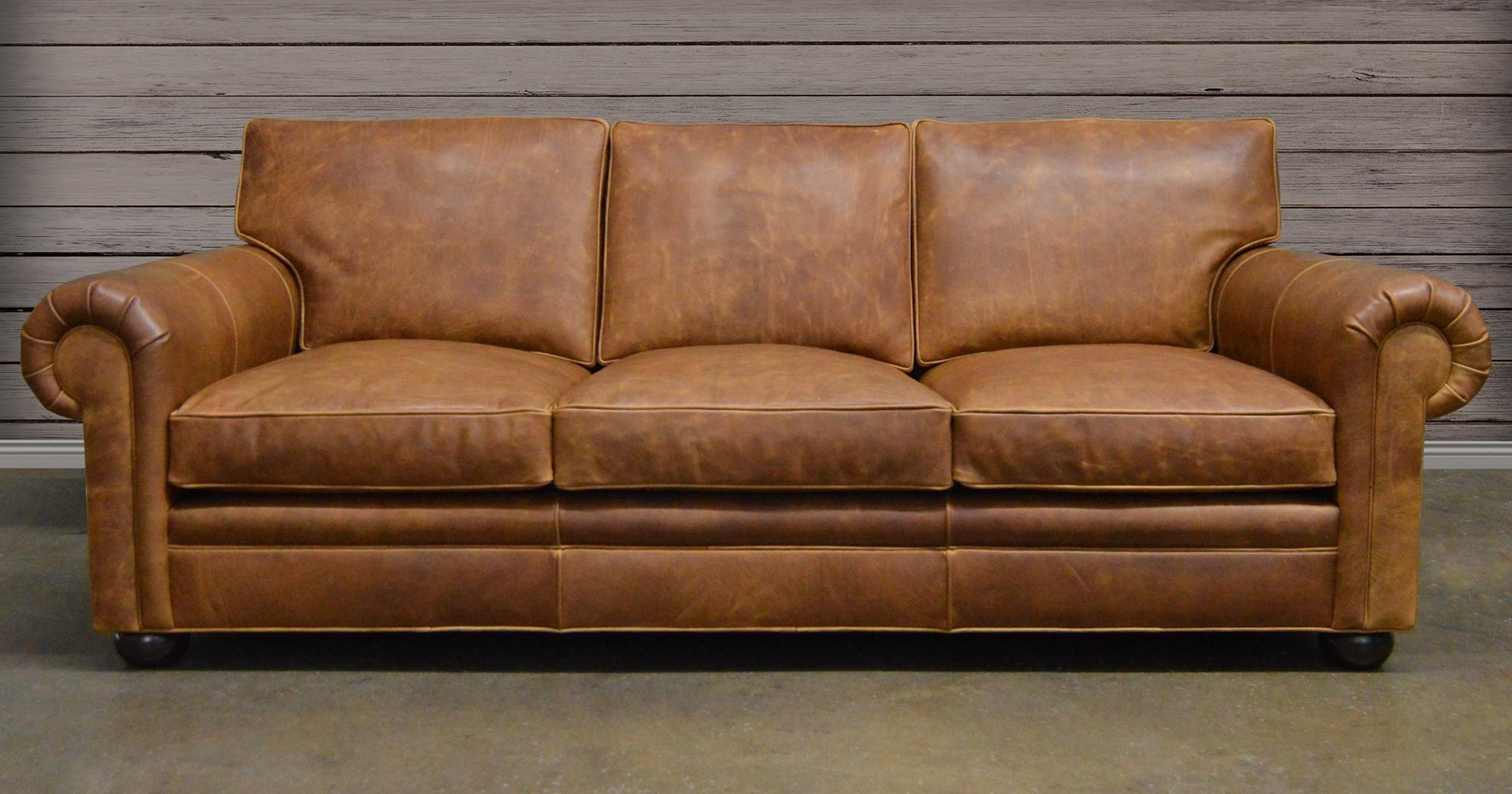 Furnitures: Classy Full Grain Leather Sofa For Luxury Living Room With Aniline Leather Sofas (Image 13 of 20)