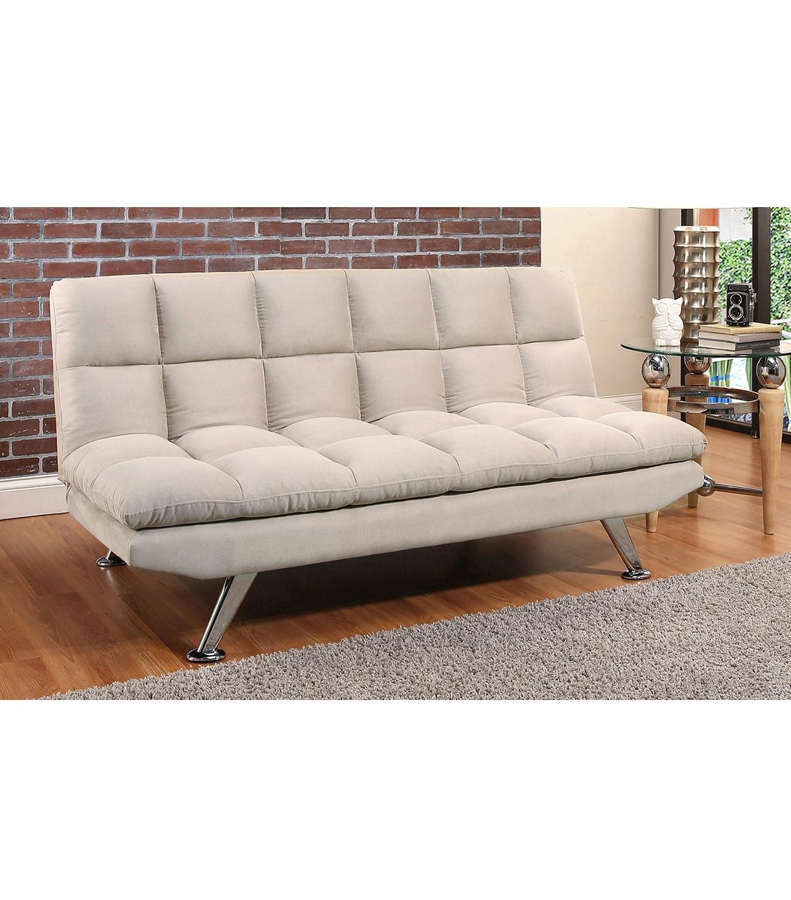 Futons : Clarence Beige Fabric Euro Lounger For Euro Loungers (Image 7 of 20)