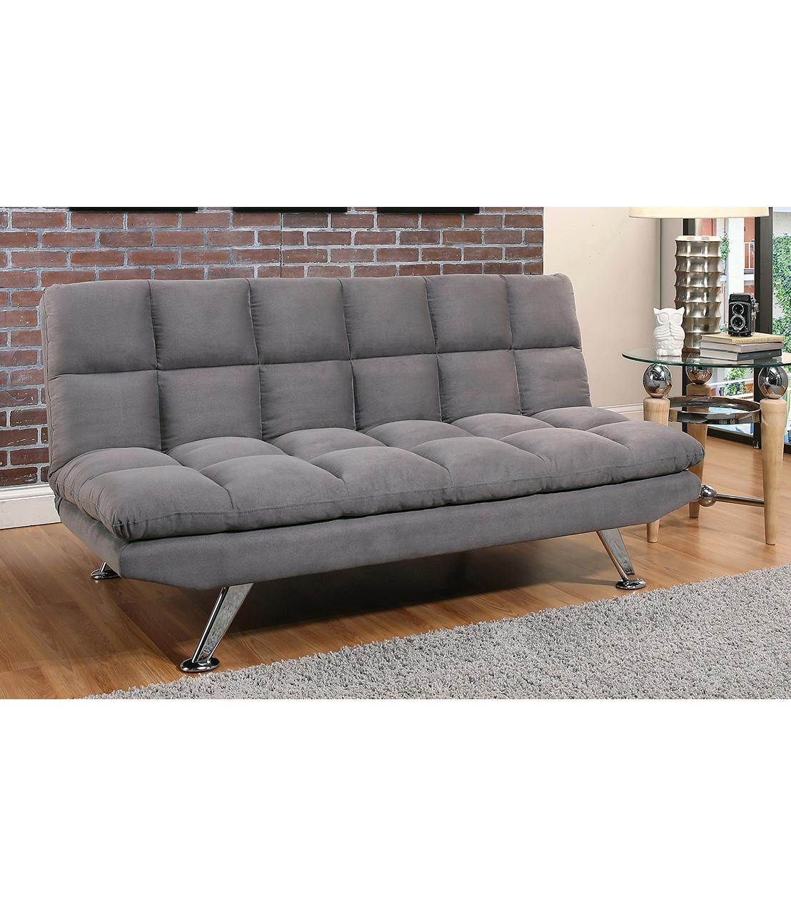Futons : Clarence Grey Fabric Euro Lounger Throughout Euro Loungers (Image 8 of 20)