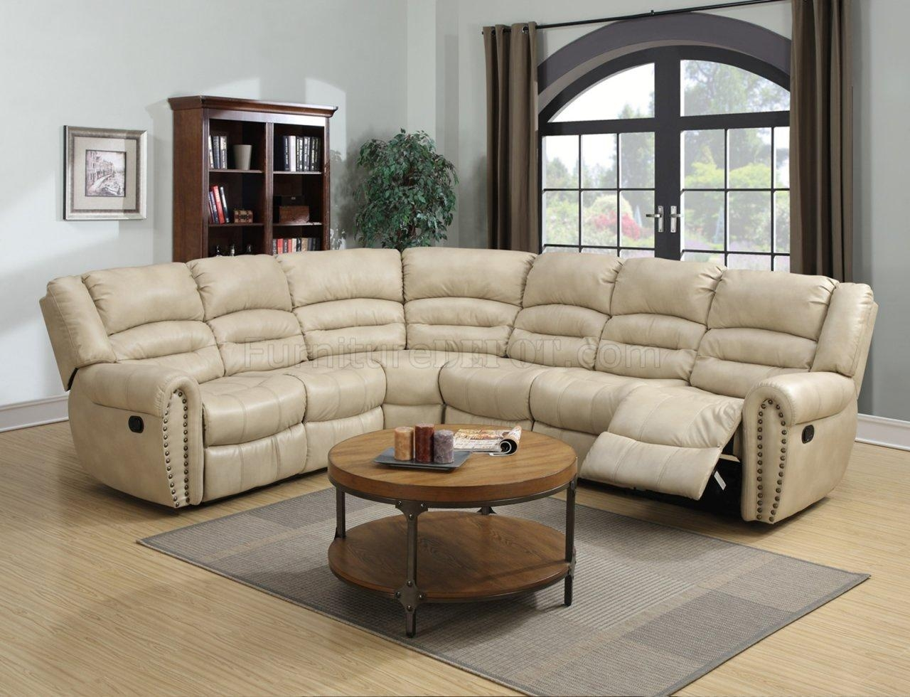 G687 Motion Sectional Sofa In Beige Bonded Leatherglory Within Motion Sectional Sofas (Image 8 of 20)