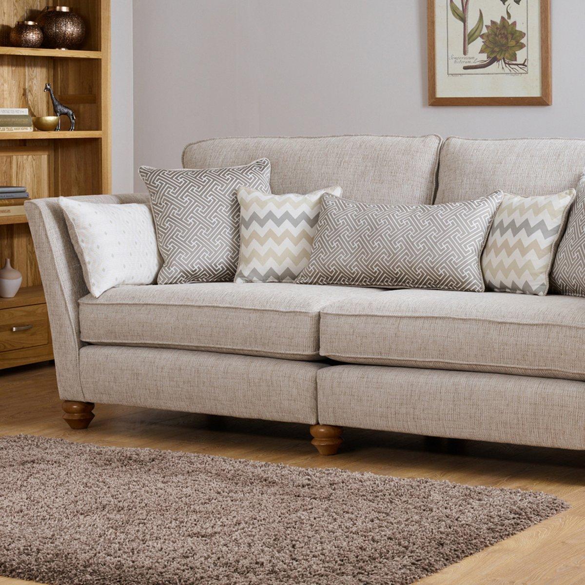 Gainsborough 4 Seater Sofa In Brown | Oak Furniture Land With Regard To Four Seat Sofas (Image 15 of 20)