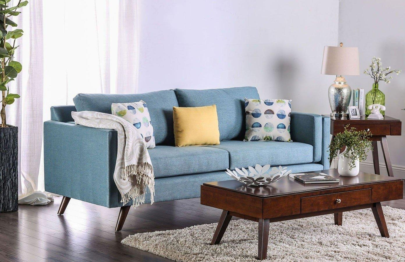 Genna Sky Blue Sofa Furniture Of America | Furniture Cart Inside Sky Blue Sofas (Image 9 of 20)