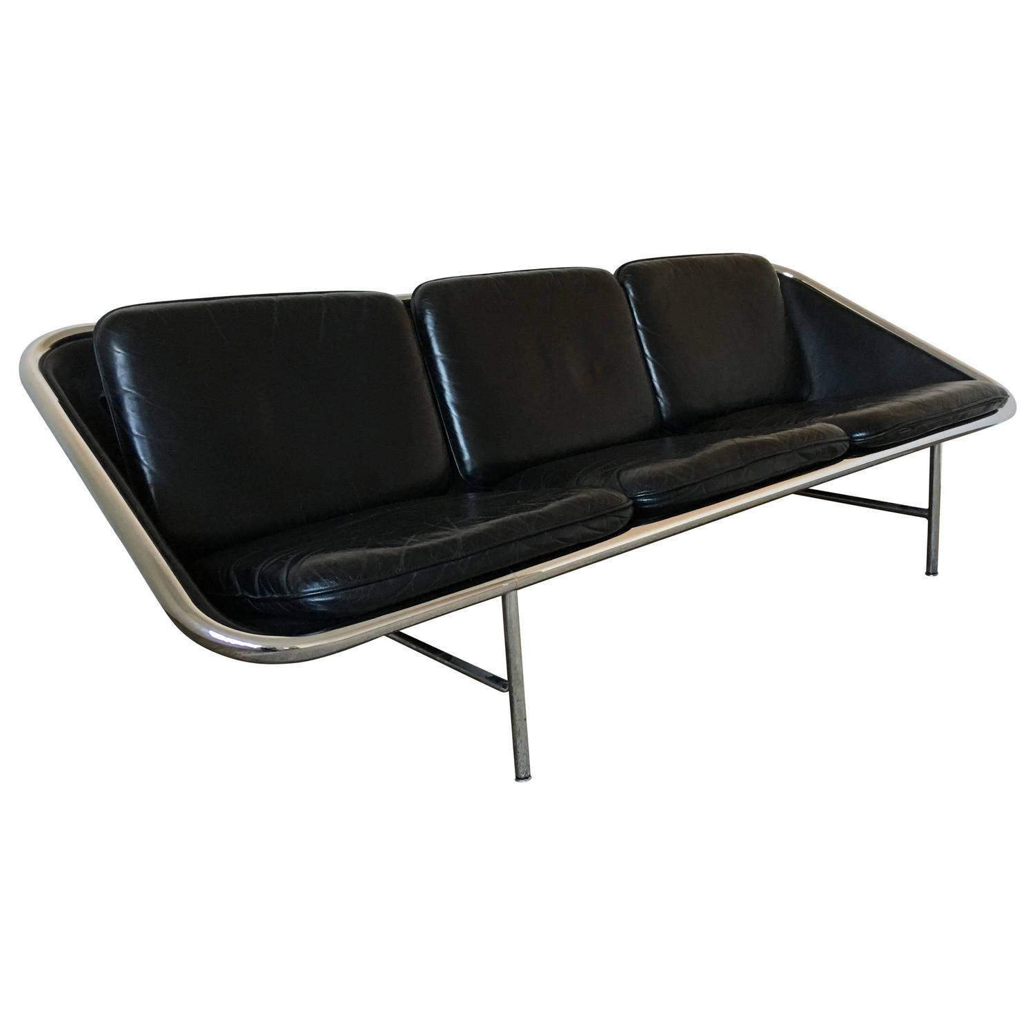 George Nelson Black Leather Sling Sofa, Herman Miller, Circa 1960 pertaining to George Nelson Sofas