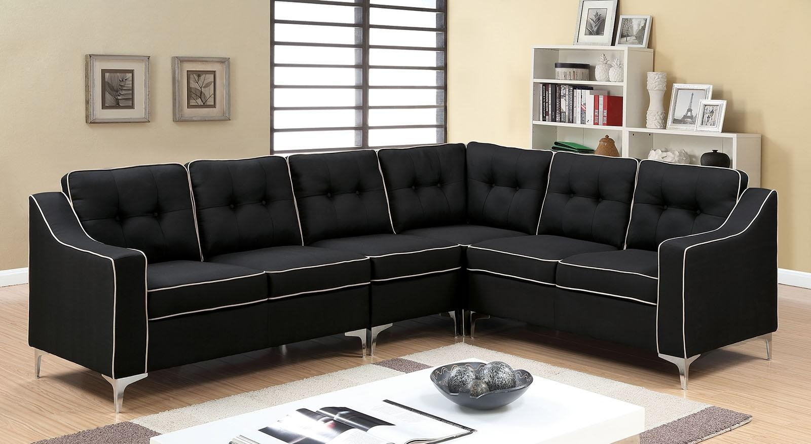 Glenda Ii Black Fabric Sectional W/ Moveable Single Chair For Black Fabric Sectional (Image 12 of 15)