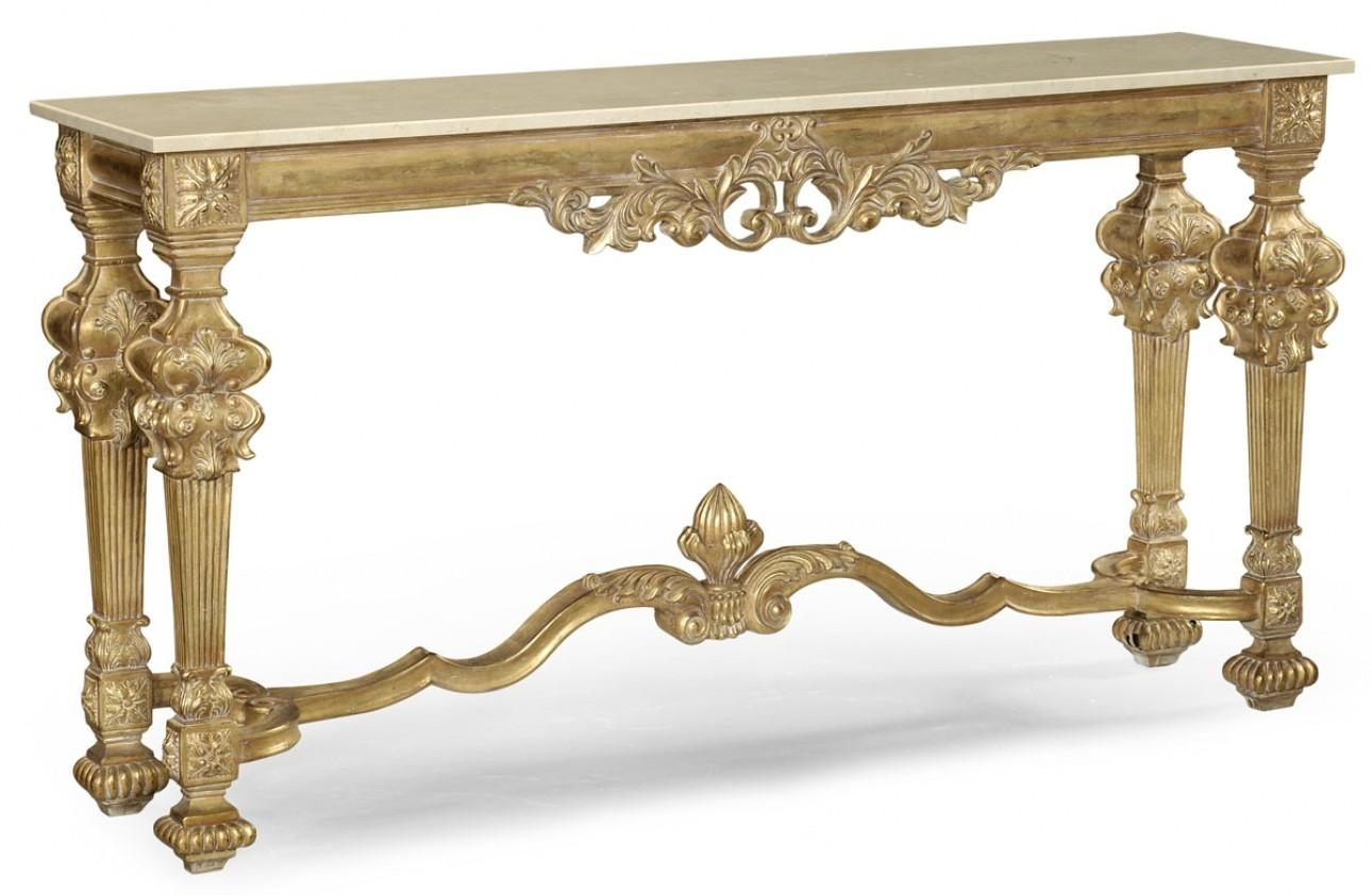 Gold Antique Finish, Marble Top, Hand Carved (Image 7 of 20)