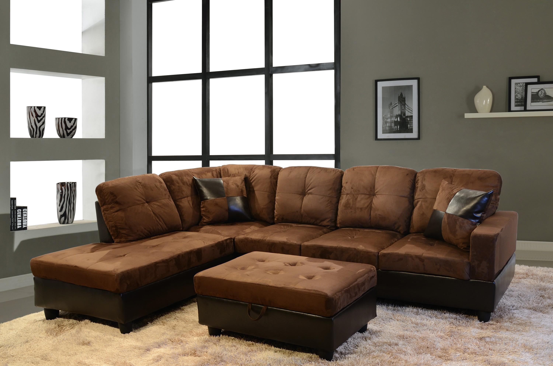 Gold Brown Velvet And Dark Brown Leather Sectional Sleeper Sofa in Brown Velvet Sofas