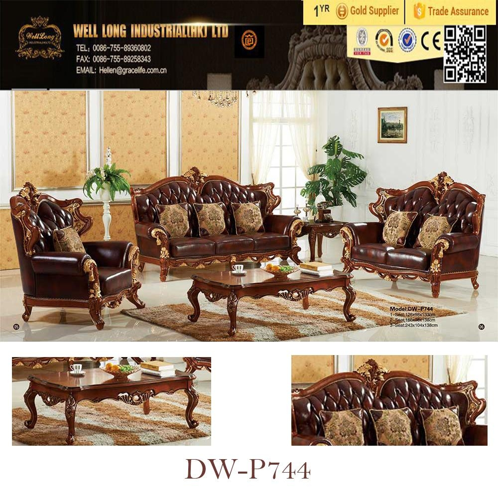 Gold Foiled Classic Carved Wood Leather Sofa Set/genuine Leather with Carved Wood Sofas