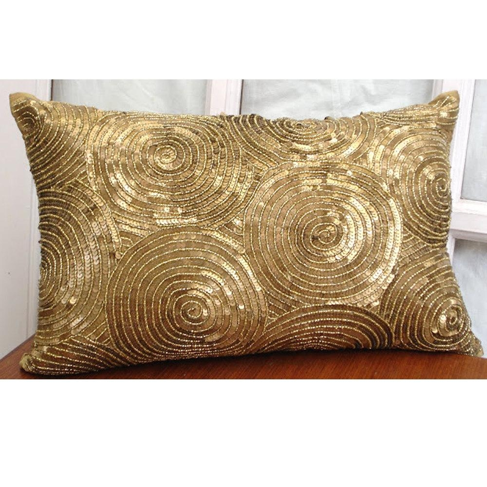 Gold Throw Pillow Covers 20 Unique Decoration And Zoom Throughout Gold Sofa Pillows (Image 12 of 20)