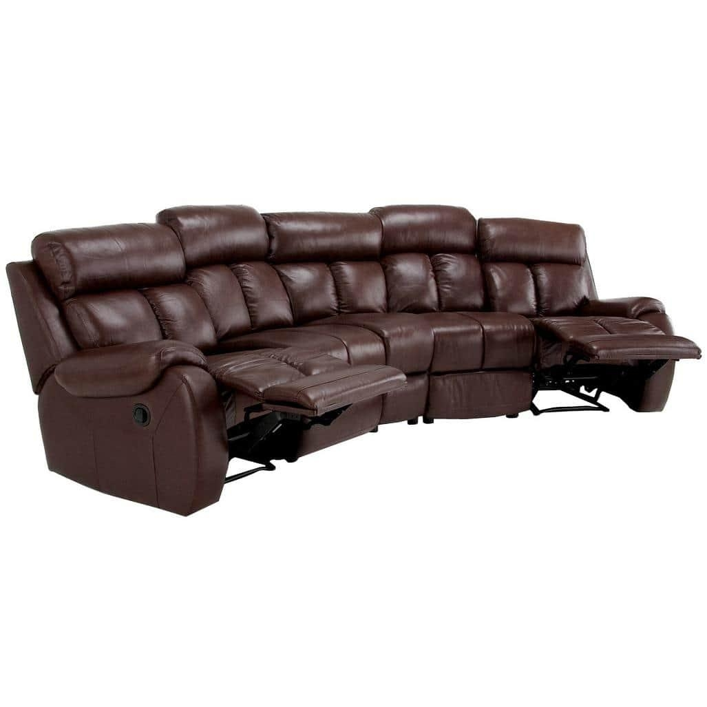 Grandview Brown Italian Leather Reclining Theater Sectional Sofa With Theatre Sectional Sofas (View 17 of 20)