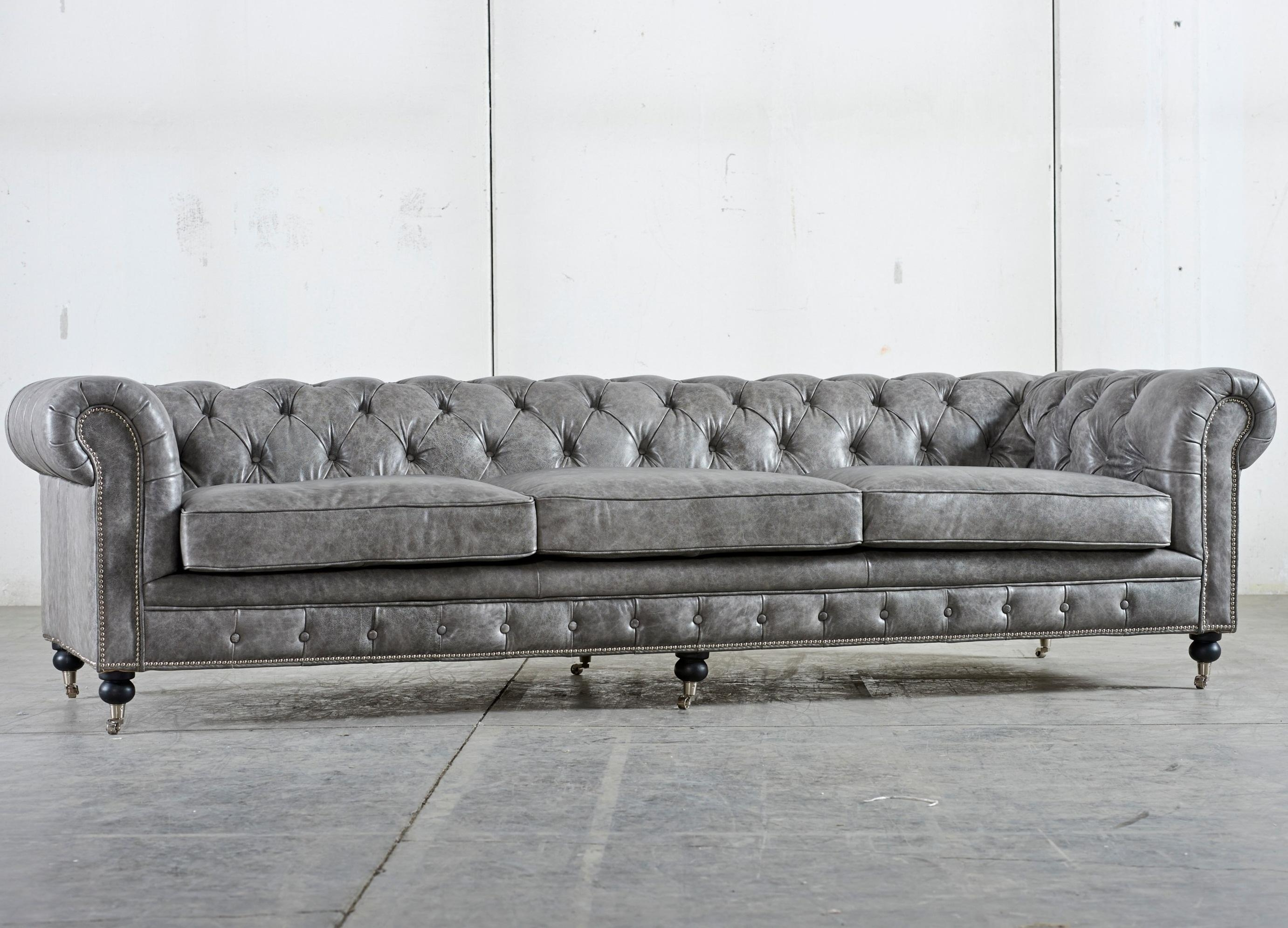 Gray Color Tufted Leather Sleeper Sofa With Stainless Steel Legs Pertaining To Tufted Sleeper Sofas (Image 8 of 20)