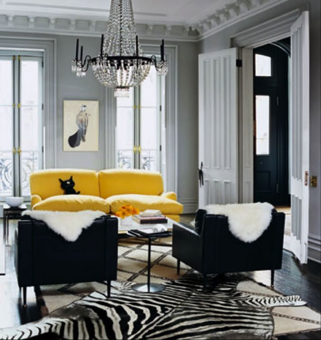 Gray Living Room With Yellow Sofa And Black Side Chairs – Popular In Yellow Sofa Chairs (Image 10 of 20)