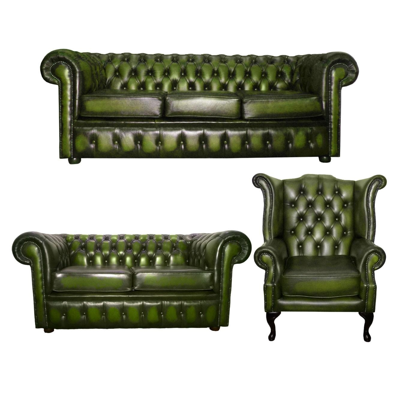 Green Leather Chesterfield Sofa | Sofa Gallery | Kengire With Regard To Chesterfield Sofas And Chairs (Image 13 of 20)