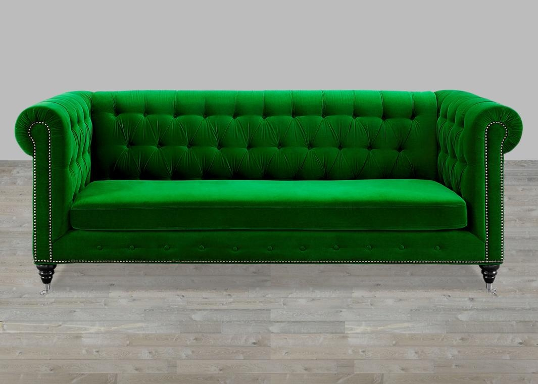 Green Velvet Sofa Button Tufted In Silver Tufted Sofas (Image 8 of 20)