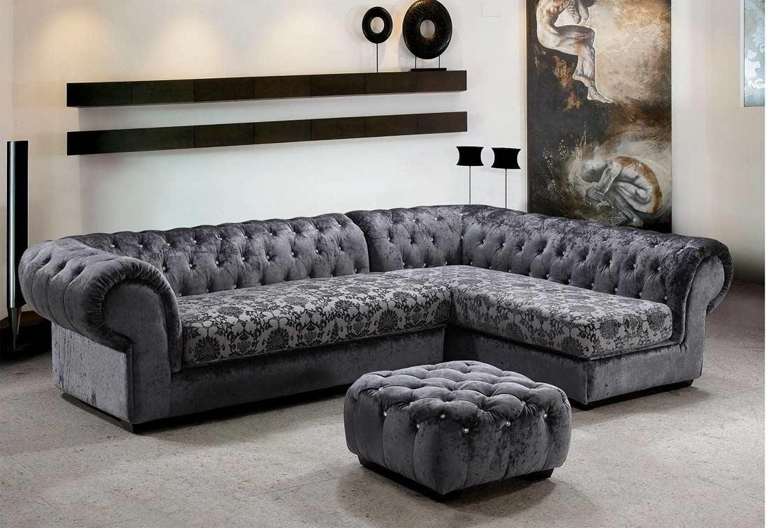 Grey Dream Micro Fiber Sectional Sofa & Ottoman | Fabric Sectional Throughout Gothic Sofas (Image 19 of 20)