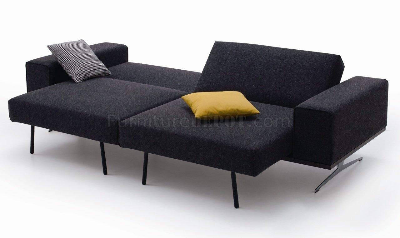 Grey Fabric Modern Sofa Bed W/stainless Steel Base Throughout Sofa Beds (Image 8 of 20)