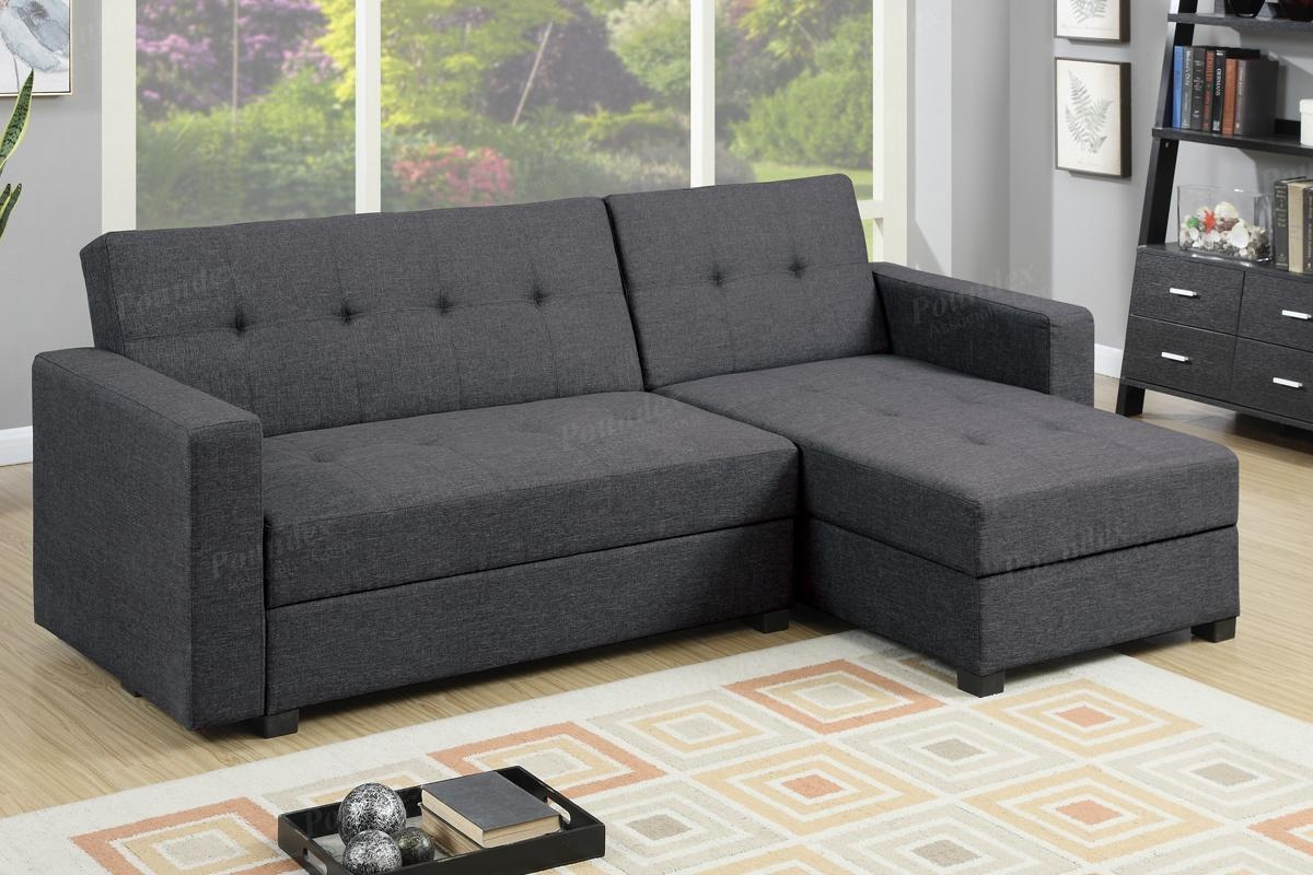 Grey Fabric Sectional Sofa Bed – Steal A Sofa Furniture Outlet Los Throughout Sectional Sofa Bed With Storage (View 8 of 20)